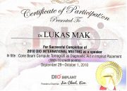 Certificate DIO Implant - drg Lukas